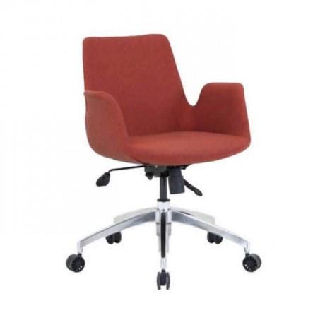 Poliüretan Tekerlekli Turuncu Kumaşlı Metal Sandalye - psd274