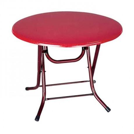 Kırmızı Tablalı Katlanır Ayaklı Polyester Masa - pol769