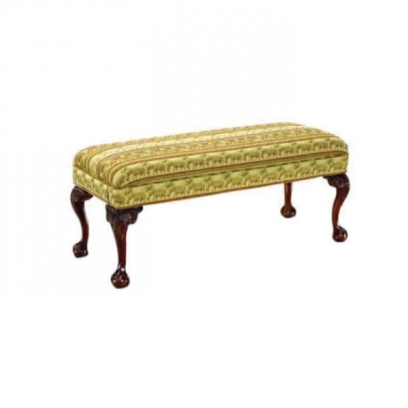 Carved Ottomaner with Patterned Fabric - puf1003