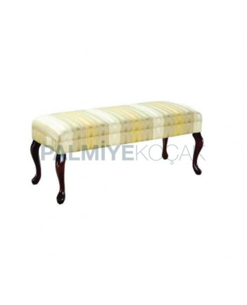 Long Ottoman with Patterned Fabric