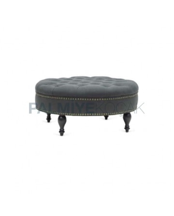 Gray Fabric Upholstered Ottoman