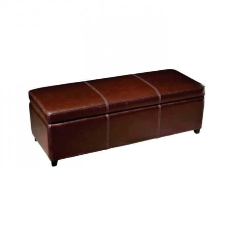 Brown Leather Sewing Long Ottoman - puf1016