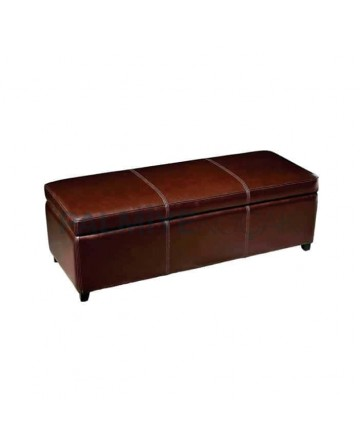Brown Leather Sewing Long Ottoman