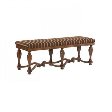 Brown Yellow Lined Leg Wood Ottoman - puf1008