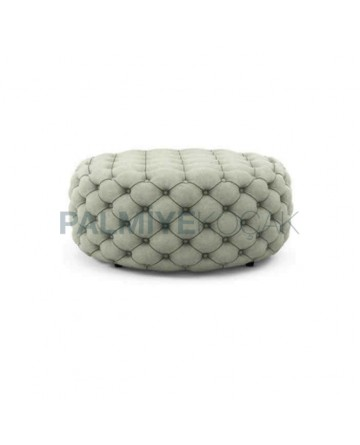 Quilted White Fabric Classic Ottoman