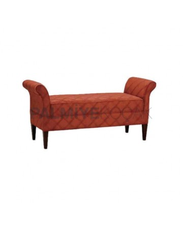 Brick Color Quilted Ottoman