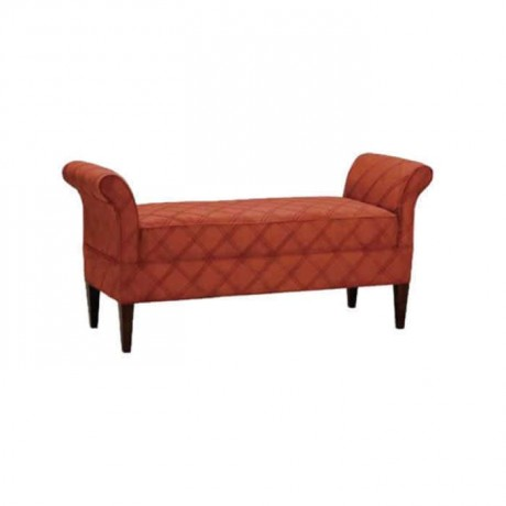 Brick Color Quilted Ottoman - puf1009