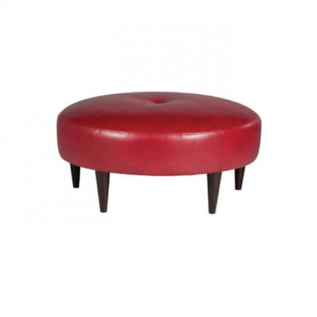Red Leather Round Ottoman - puf16