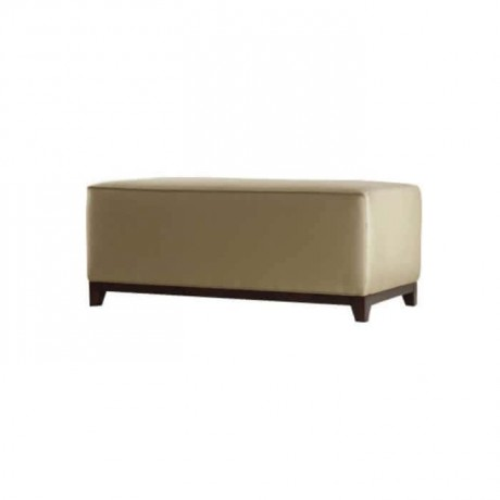 Cream Leather Upholstered Wooden Leg Ottoman - puf1015