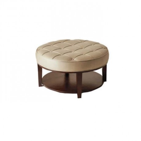 Cream Leather Wooden Shelf Ottoman - puf13
