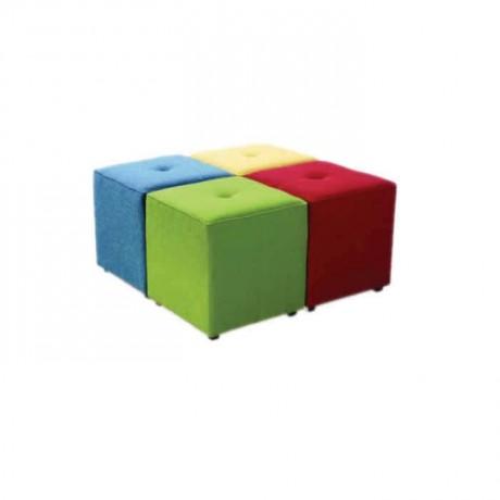 Renkli Döşemeli Kare Puf - puf36
