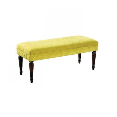 Turned Ottoman with Yellow Fabric - puf1001