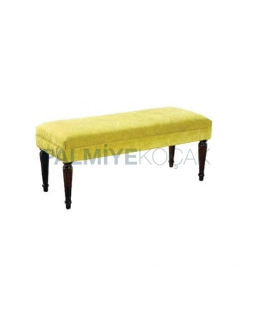 Turned Ottoman with Yellow Fabric