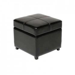 Black Leather Square Ottoman