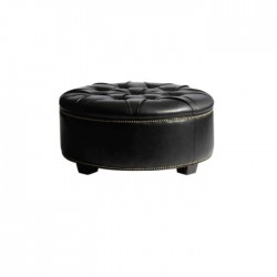 Black Leather Round Ottoman