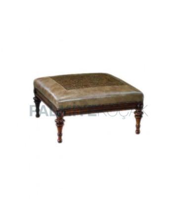 Turned Leg Square Ottoman