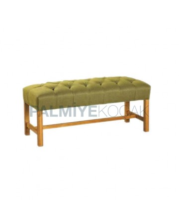 Green Quilted Fabric Upholstered Ottoman with Wooden Legs