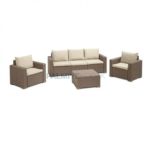 Beige Rattan Injection Triple Sofa Set