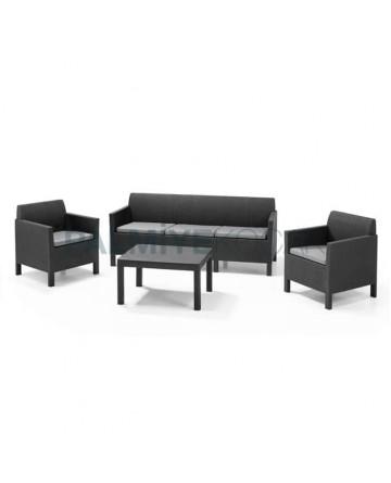 Dark Brown Rattan Injection Sofa Set