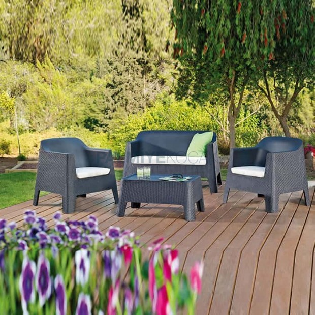 Black Rattan Injection Garden Seat