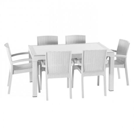 Beyaz Polipropilen Camlı Plastik Enjeksiyon Rattan Görünümlü Masa Sandalye Takımı - tps9812