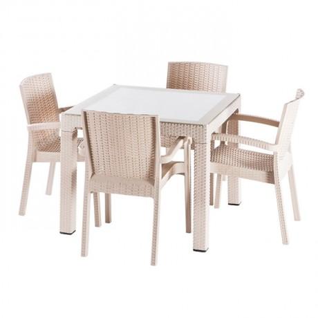 Kare Capuccino Camlı Plastik Enjeksiyon Rattan Görünümlü Masa Sandalye Takımı - tps9815