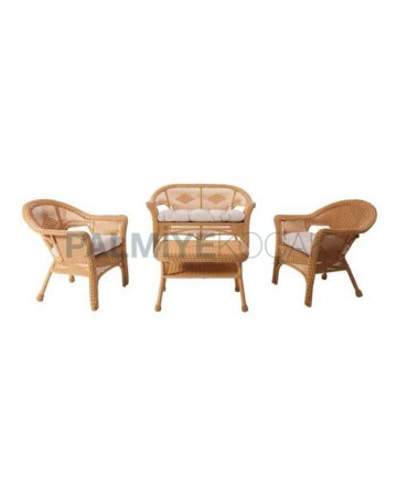 Beige Wicker Knitted Seating Group