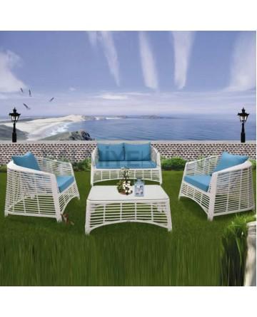 White Rattan Knitted Garden Set
