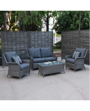 Gray Rattan Braided Sofa Set