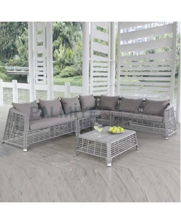 Gray Color Rattan Braided Corner Chair