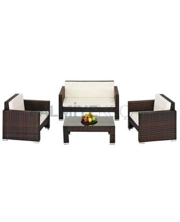 Brown Rattan Sofa Set