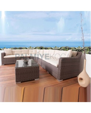 Brown Colorful Garden Rattan Knitted Corner Chair