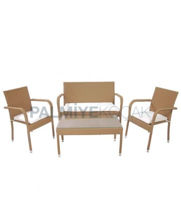 Rattan Beige Arm Chair with  Coffee Table