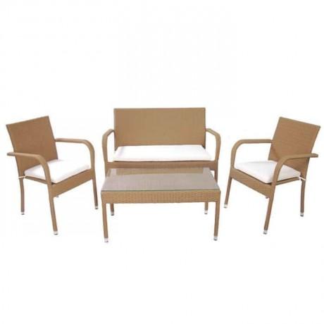 Rattan Bej Kollu Sandalye Sehpa Takımı - rtk239