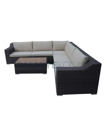 Black Colored Rattan Knitted Cafe Corner Seat