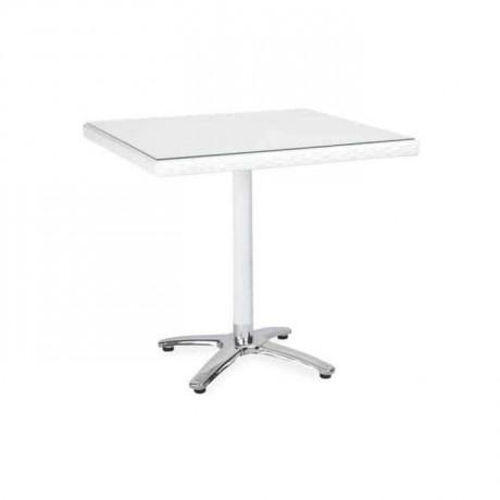 70x70cm Kare Beyaz Rattan Masa - rtm1004