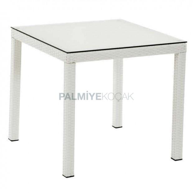 White Four-Leg Rattan Table