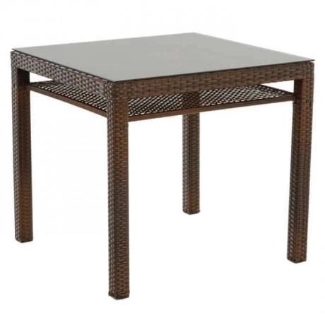 Brown Colored Rattan Table - alcm1013b