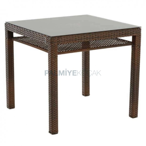 Brown Colored Rattan Table