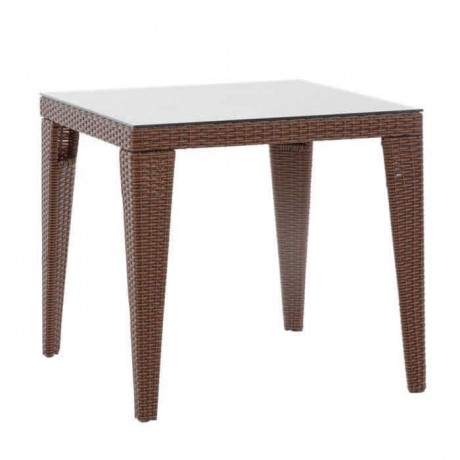 Square 80x80cm Rattan Knitting Garden Table - alc1030