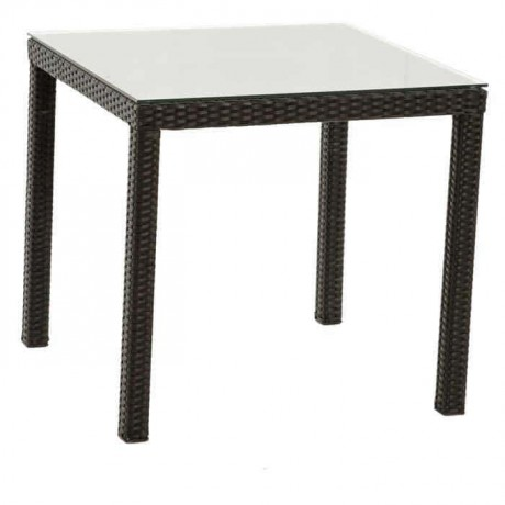 Square Four-Leg Rattan Table - rtm6522