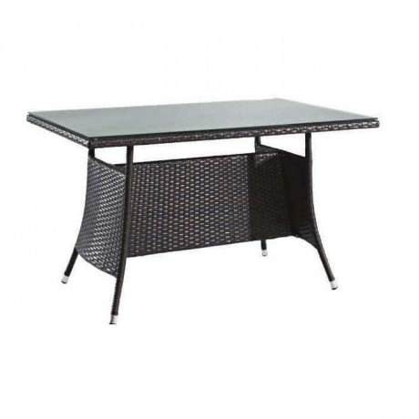 Rattan Knitting Dark Color Cafe Table - rmy9090