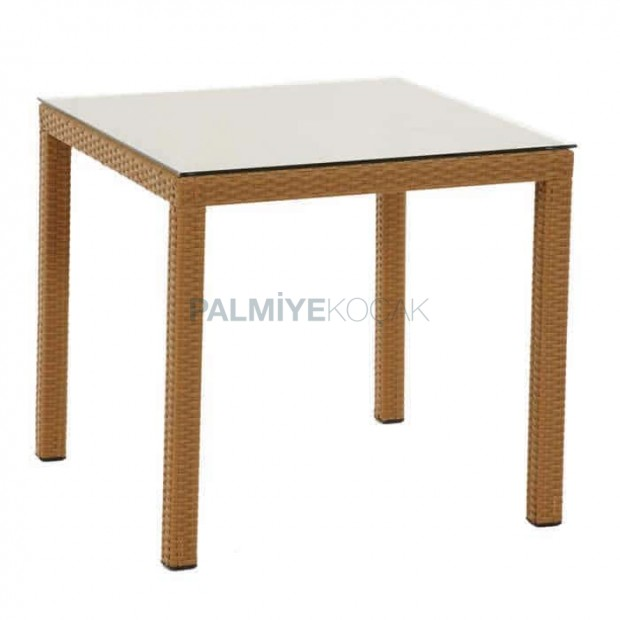 Straw Color Four-Leg Rattan Table