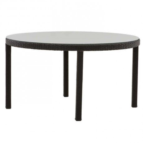 Black Round Four-Leg Rattan Table - alcm1019c