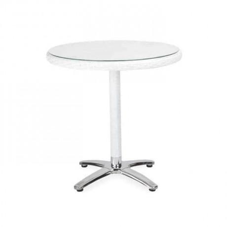 Round White Rattan Cafe Table - rtm1005