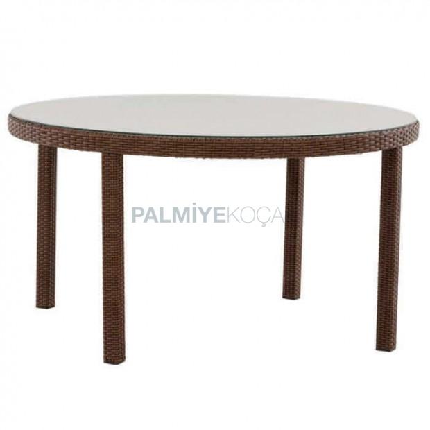 Round Four Leg Rattan Table