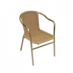 Plastic Braided  Rattan Aluminum Armchair