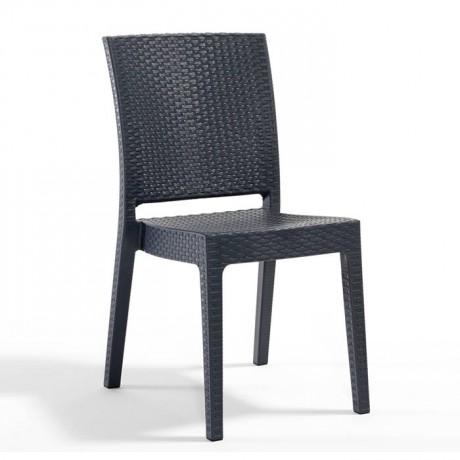 Antrasit Rattan Görünümlü Kolsuz Plastik Enjeksiyon Sandalye - Rattan Enjeksiyon Sandalye