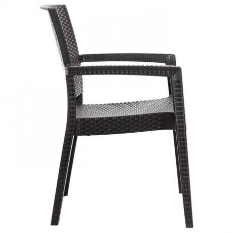 Antrasit Rattan Görünümlü Plastik Enjeksiyon Sandalye - Rattan Enjeksiyon Sandalye