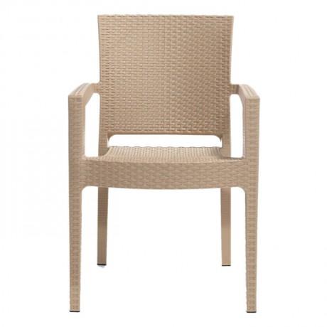Capuccino Rattan Görünümlü Plastik Enjeksiyon Kollu Sandalye - Rattan Enjeksiyon Sandalye